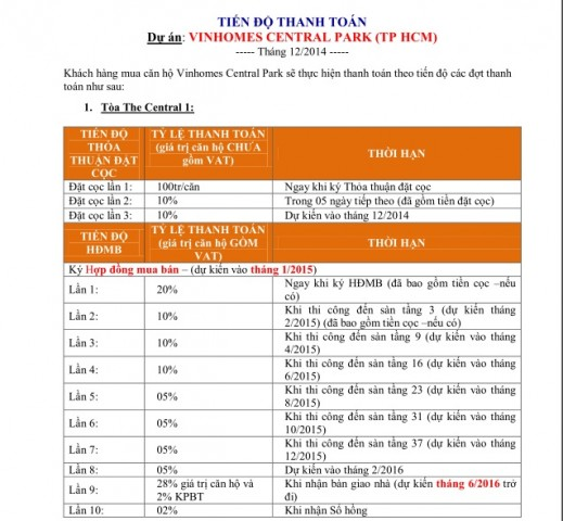 lich thanh toan Vinhomes Central Park 1